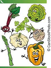 vegetables cartoon illustration set - Cartoon Illustration...