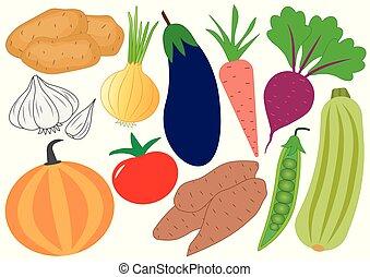 Vegetables cartoon set, icons. Vector illustration