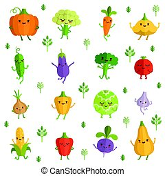 Vegetables characters with funny emotions. Vector illustration in comic style