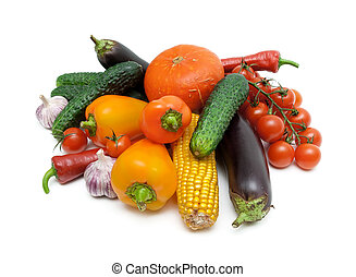vegetables close-up isolated on white background