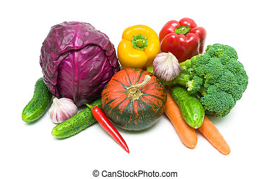 Vegetables close-up on a white background.