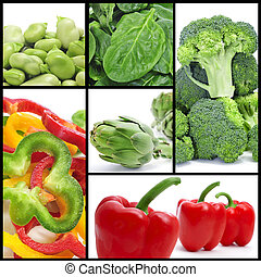 vegetables collage - a collage of different vegetables, such...