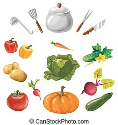 Vegetables collection with kitchen dishes isolated