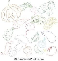 Vegetables color outline vector illustration