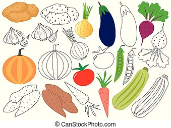 Vegetables. Coloring book. Educational game for children. Vector illustration.