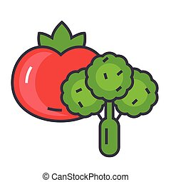 Vegetables concept. Line vector icon. Editable stroke. Flat linear illustration isolated on white background