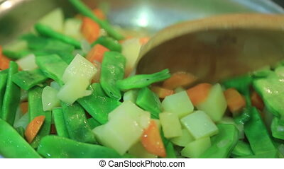 Vegetables cooking in pot