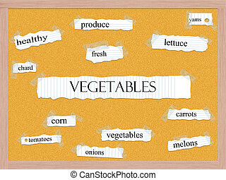 Vegetables Corkboard Word Concept