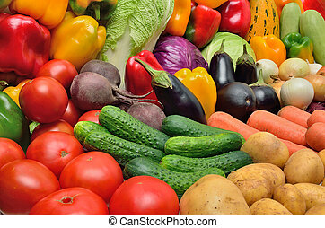 Vegetables - Crop of vegetables. Potatoes, peppers, tomatoes...