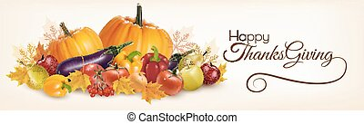vegetables., dankzegging, herfst, vector., spandoek, ...