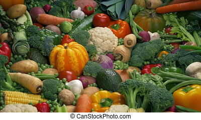 Vegetables Display - Healthy Eating Concept - Potatoes,...