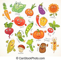 vegetables., divertido, caricatura, carácter