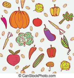 Vegetables doodle seamless pattern in bright colors