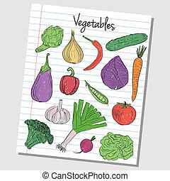 Illustration of vegetables colored doodles on lined paper