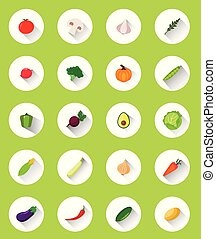 Vegetables flat icons with shadow