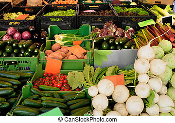 Vegetables - Food market stall with variety of frech...