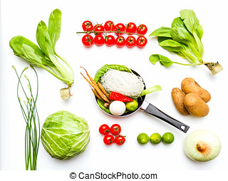 Vegetables for cooking and healthy on white background. -...