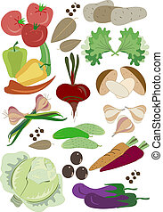 Colored fresh group of vegetables for balanced diet