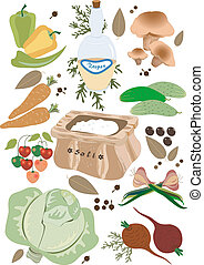 Vegetables for pickling.Illustratio - Vegetables and spices...