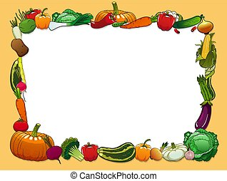 Vegetables frame with farm and garden fresh food