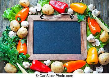 Vegetables frame with slate