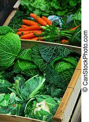 Vegetables - Fresh assorted vegetables in boxes on farmer's ...