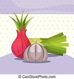 vegetables fresh organic healthy onion chives garlic