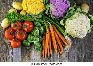 Vegetables - Fresh organic vegetable in season on old farm...