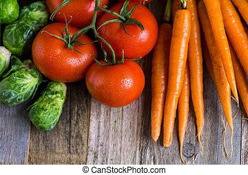Vegetables - Fresh organic vegetable in season on old farm ...