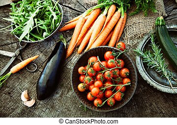 Vegetables - Fresh organic vegetables. Food background. ...