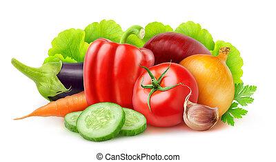 Vegetables - Fresh vegetables isolated on white