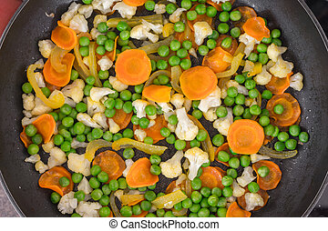 Vegetables fried in a pan