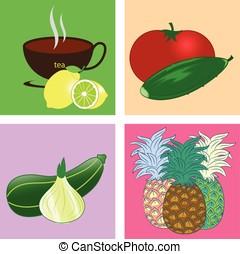 vegetables fruit poster illustration