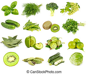 Vegetables, fruits and spices green color isolated on white ...