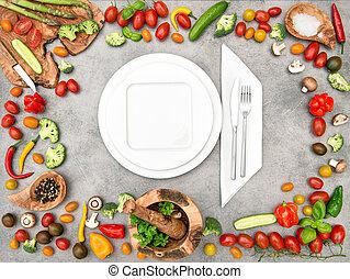 vegetables., gezond voedsel, vatting, fris, tafel