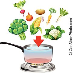 Vegetables going into a pot