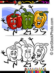 vegetables group cartoon for coloring book