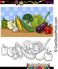 vegetables group illustration for coloring - Coloring Book...