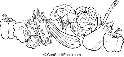 vegetables group illustration for coloring book - Black and...