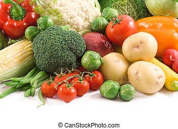 Vegetables - Harvest. Fresh organic vegetables on white