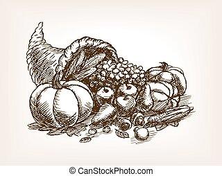 Vegetables harvest sketch style vector