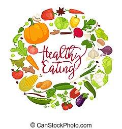 Vegetables healthy food poster of organic veggie, fresh...