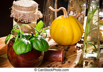 Vegetables, herbs and fresh spices on wooden shelf