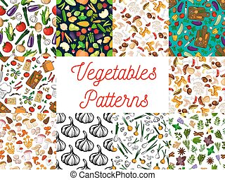 Vegetables, herbs, mushrooms seamless patterns set
