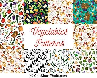 Vegetables, herbs, mushrooms seamless patterns set