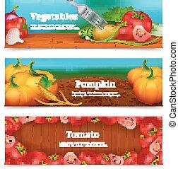 Vegetables Horizontal Banners Set