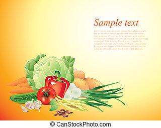 Vegetables horizontal vector background