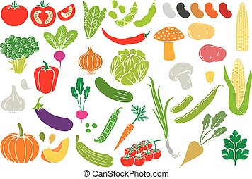 vegetables icon set (vector collection)