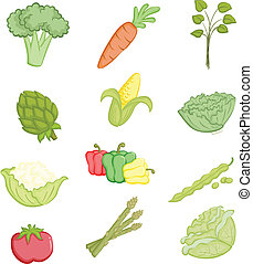 Vegetables icons - A vector illustrations of a variety of...