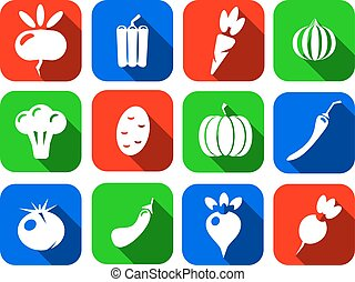 Vegetables icons flat set isolated on white background vector illustration